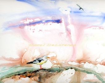 Watercolor Painting Bird Art, Bird Painting, Bird Watercolor, Seagull Art, Seagull Painting, Print Titled Seagull Has Landed