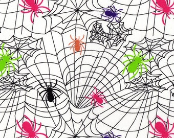 Spiders n Spiderwebs, Cotton Jersey Knit Fabric - Piece 10 inches long