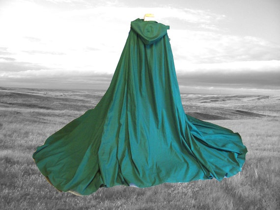 Green Fantasy Cloak - Halloween Costume - Wedding - Harry Potter - Cape - Renaissance Festival