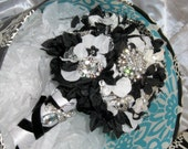 Elegant Black and White Handcrafted Vintage and New Brooch Bouquet Enhanced with Silk Flowers, Satin Ribbon, Crystals and Velvet