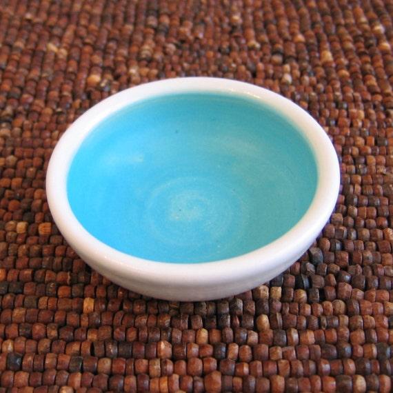 Tiny Turquoise Blue Pottery Bowl - Ring Holder