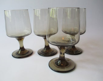 Vintage Libbey Tawny Accent Water Goblets Set of Four - So Mod