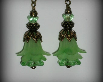 Lime Green Lucite Trumpet Flowers, Glass Flowers and Antique Brass Earrings (eb7)