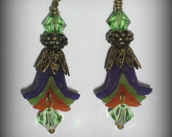 Purple, Lime and Tangerine Iris Flowers, Swarovski & Antique Brass Flower Earrings (eb28)