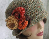 Crochet Pattern Womens Flapper Hat Downton Abbey Style With Large Flower Trim  Instant download