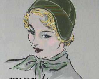 Vintage Womens Flapper HAt Pattern circa 1930s Easy To Make Instant Download