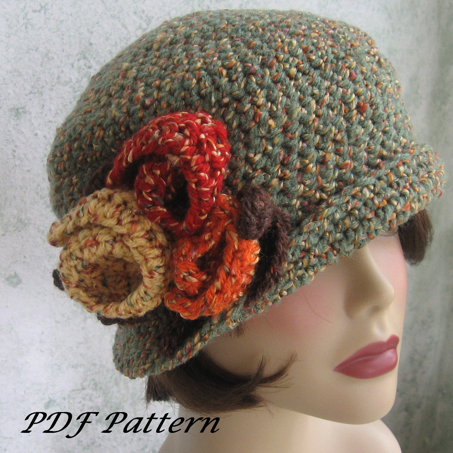 crochet pattern womens flapper hat downton style with