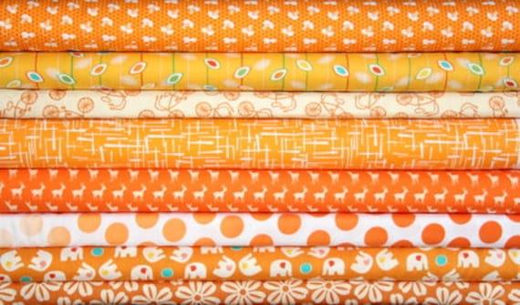 fat quarter bundle (tangerine twist)--misc. designers--8 pieces--2 yards total