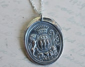 two lions wax seal pendant necklace… dauntless courage ~ eco friendly silver armorial wax seal jewelry