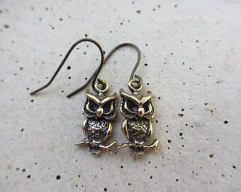 Tiny Owl Earrings, Bronze, Antiqued Brass, Oxidized, Fall Fashion, Irisjewelrydesign