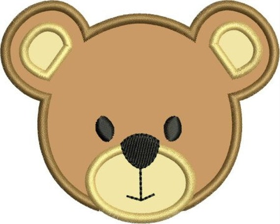 INSTANT DOWNLOAD Bear Face Applique Designs By
