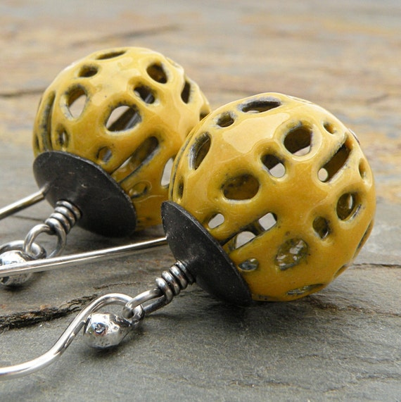 Goldenrod Yellow Earrings, Enameled Filigree Beads, Sterling Silver and Copper