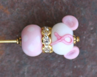 Think Pink Hat Pin Disney Inspired Minnie Mouse Style DeSIGNeR SRA Lampwork Disneyland Magic Perfect Bonnet Accessory