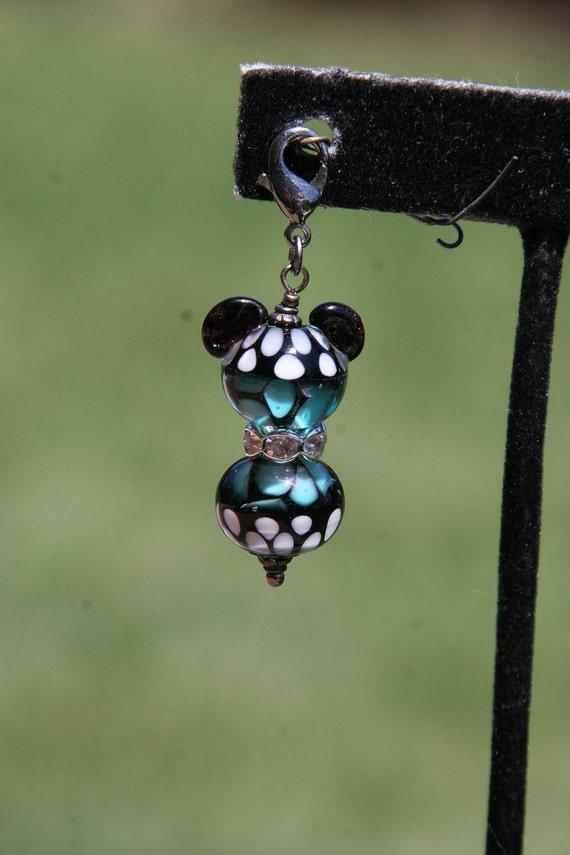Aqua Azule Butterfly Monarch Lampwork Mickey Minnie Mouse Style Disney Inspired DeSIGNeR Purse Charm Trendy Black Gunmetal Disneyland