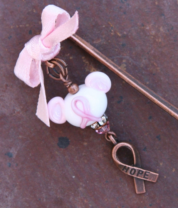 Think Pink Disney Inspired SRA Lampwork Mickey Minnie Mouse Style DeSIGNeR Bookmark Disneyland Breast Cancer Awareness