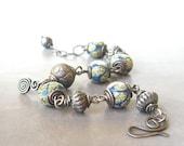 wire wrapped bracelet, raku lampwork bracelet, blue tribal bracelet, oxidized sterling silver