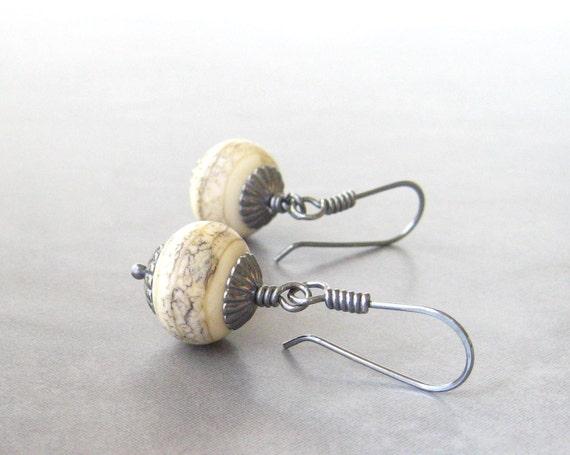ivory dangle earrings rustic dangle earrings earthy earrings lampwork glass and sterling silver