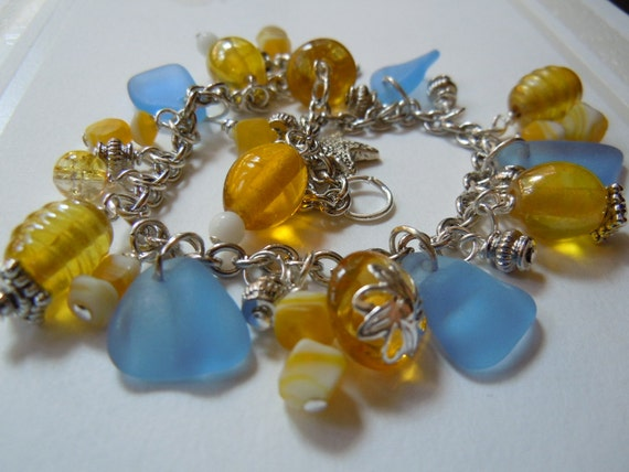 Genuine  Blue and Yellow Sea Glass  Charm Bracelet Beach Glass Seaglass Bracelet
