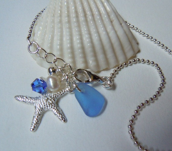 Blue Sea Glass Anklet Beach Glass - Seaglass Anklet