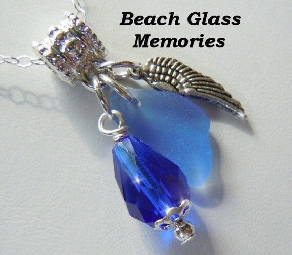 Angel Wing Necklace -  Blue Sea Glass Necklace -  Beach Glass Jewelry Sea Glass Jewelry