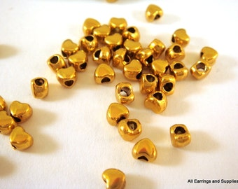 50 Gold Heart Spacer Bead Gold Plated LF/NF 4x3.5mm 2mm Opening - 50 pc - M7020-G50