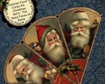 Christmas Cones Instant Download Digital Printable Christmas Victorian Favor Cone Kit Set 6 - The Many Faces of Santa Claus