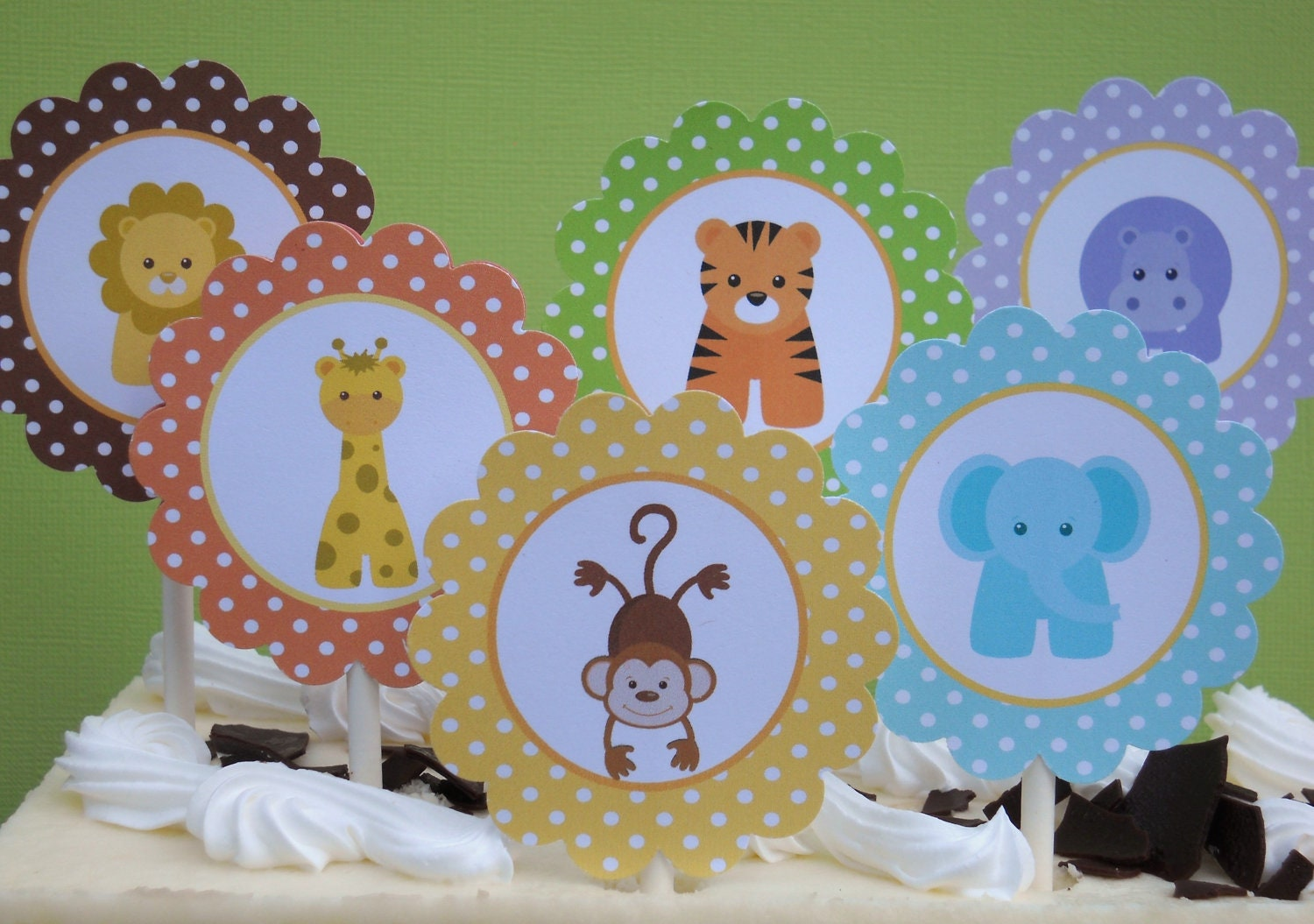 baby jungle animals printable cupcake toppers by