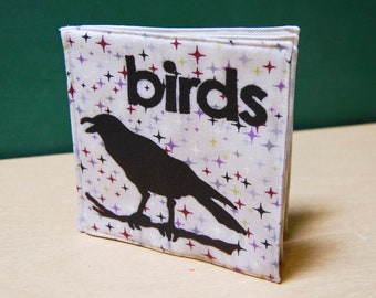 Birds Cloth Book, printed on organic cotton