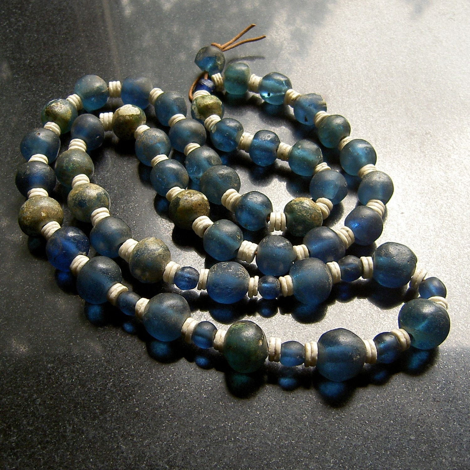 Bead Glass African Beads: Medieval African Blue Folded Glass Beads