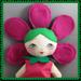 SALE- Flower Girl Doll,Hot Pink, Cloth Rag Doll