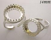 1pcs x Round 14mm Quality Cast Bezel Cup Ring Setting Shiny Sterling Silver 925 Anti Tarnish (8481SH)