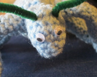 Hand Crocheted Giant Light Blue Ant Toy Insect Christmas Present Gift Boy Birthday