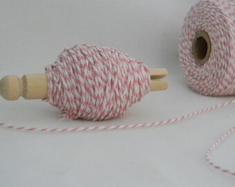 25 yards bakers twine pink and white