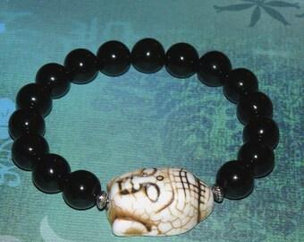 Buddha Black Onyx and Howlite Bracelet