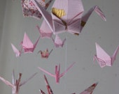 "Reserved for Louise - Mix Sized Crane Mobile -  Love and Purity - 22 cranes folded from 2"" to 6"" Solid and Patterned in Pink and White"