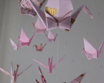 "Mix Sized Crane Mobile -  Love and Purity - 22 cranes folded from 2"" to 6"" Solid and Patterned in Pink and White, Home Decor, Nersery Decor"