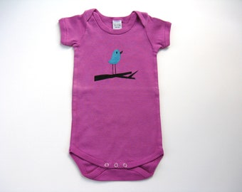 Girls Bird Bodysuit, Baby or Toddler, Hand Dyed and Painted Bluebird One Piece
