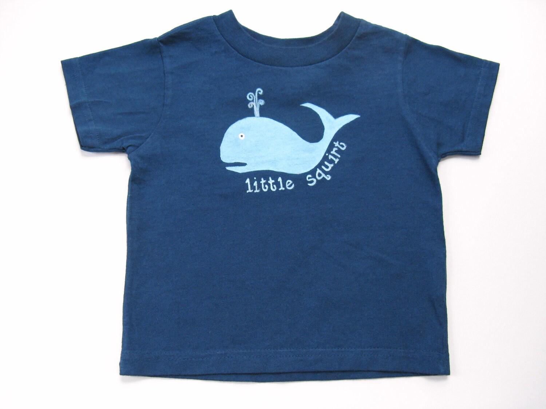 Whale t shirt little squirt nautical theme shower hand for Whale emblem on shirt