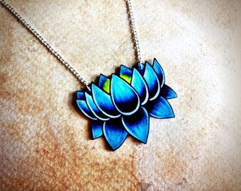 tattoo necklace lotus bright aqua blue shaded dark blue NEW silver chain
