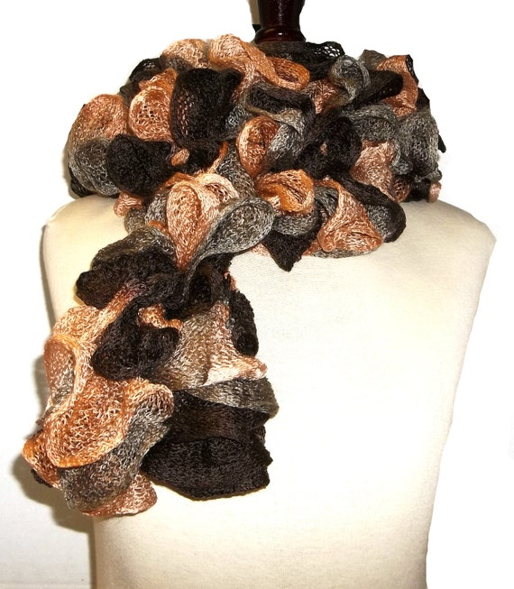 Chocolate and Pumpking Ruffled Scarf