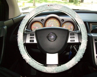 SALE Light Blue with White Lattice Steering Wheel Cover