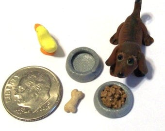 Dollhouse Dachshund Pup with Accessories Doxie Dog Hand Sculpted Artisan 12th Scale Miniature Dollhouse or Collectible Pet