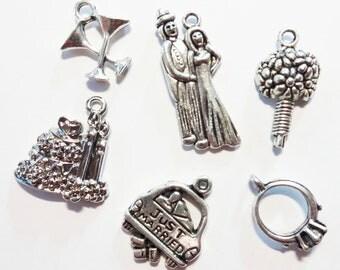 6 Assorted Wedding Theme Charms