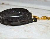 black snakeskin leather & gold triple wrap bracelet
