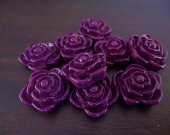 20mm Purple Rose Flower Beads (10x)