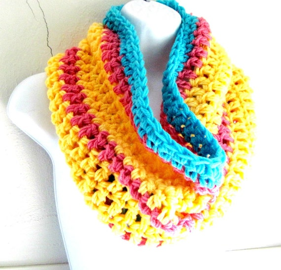 "Infinity Scarf Cowl, Blue Yellow and Pink, Bright Chunky Scarf   ""Buy one get one 50% off lowest price"""