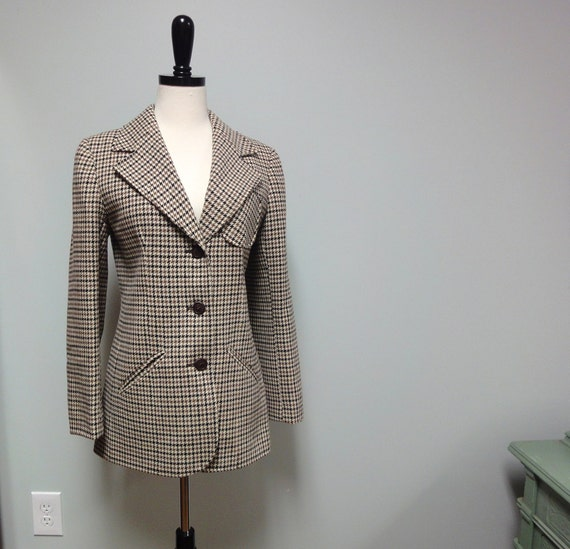 Tailored ALEXON 70s Houndstooth Wool Blazer, Black, Taupe, Cream, Suede Elbow Patches, Sporty Classic, Small