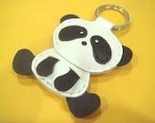 Leather Keychain - Yen the Panda leather charm ( Black / White )