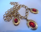 Vintage Napier Red Cabochon and Gold Tone Necklace