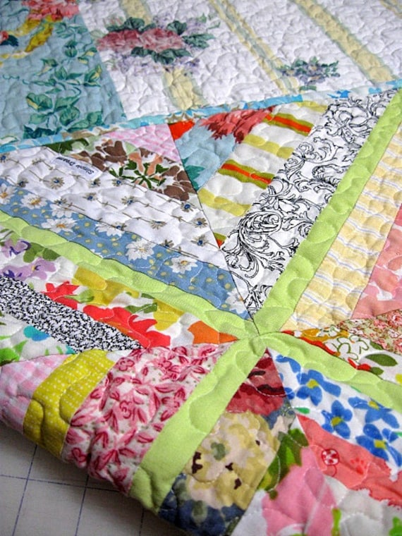 kaleidoscope - shabby chic, pastel,  baby girl quilt, lap quilt  - echo quilt no.23-  Ready to Ship